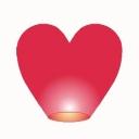 Фонарик сердце малое 2D d=36, h=135