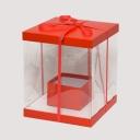 Коробка для цветов квадрат-трансформер прозрачные стенки 30/30/36см